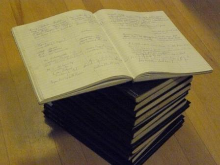 A stack of our guest books